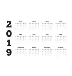Simple calendar on 2019 year in spanish language vector image