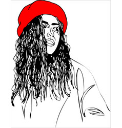 young woman on red beret one line design vector image vector image