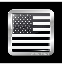 Black and White American Flag Square Icon vector image