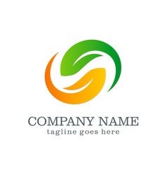 circle green leaf beauty spa company logo vector image vector image