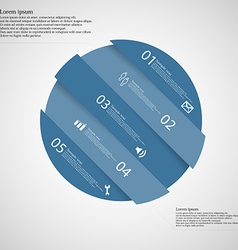 Circle motif askew divided to five blue parts on vector image