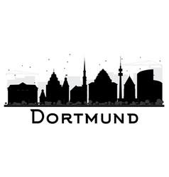 dortmund city skyline black and white silhouette vector image