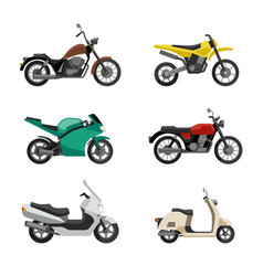 motorcycles and scooters vector image vector image