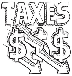 Taxes and arrow vector image vector image