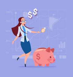 Business woman put coin piggy bank money vector