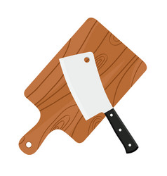 cleaver butchers sharp knife for meat with board vector image vector image