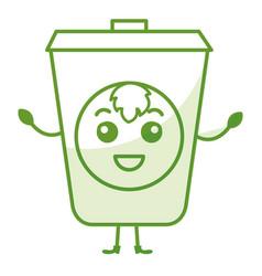 ecology recycle bin kawaii character vector image