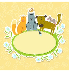 frame with pets vector image vector image