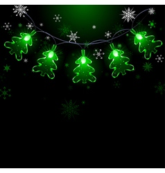 garland of green fir trees vector image
