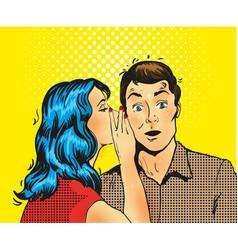 man and woman whisper pop art vector image vector image