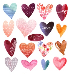 Set heart watercolor vector image