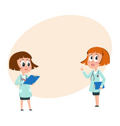 two comic woman doctor characters filling in vector image vector image