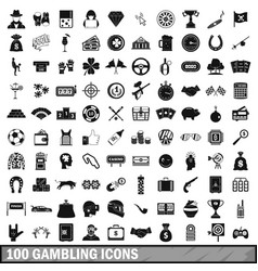 100 gambling icons set simple style vector