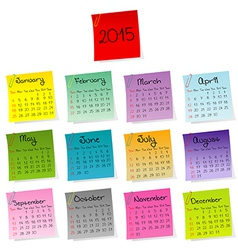 2015 calendar made of colored sheets of paper vector