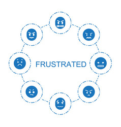8 frustrated icons vector