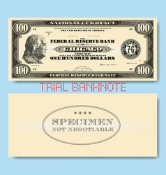 A fictional one-sided us 100 dollars banknote vector