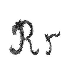 Abstract letter r logo icon black and white design vector