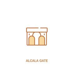 Alcala gate concept 2 colored icon simple line vector