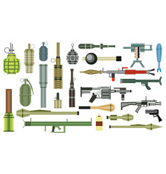 Arms grenade set military weapon grenade launcher vector