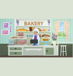 bakery shop with baker cartoon flat vector image