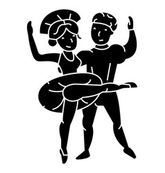 ballet couple man and woman dance icon vector image