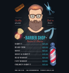 Barber shop hipster style poster vector