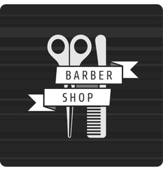 Barbershop logo scissors and comb vector