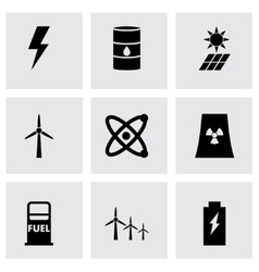black energetics icon set vector image