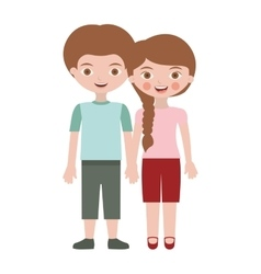 Boy and girl with taken hands vector