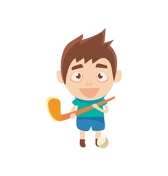Boy Sportsman Playing Hockey On Grass Part Of vector image