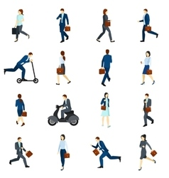 Businesspeople Going To Work Flat Icons Set vector image