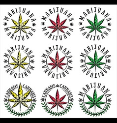 Cannabis marijuana hemp textured leaf symbol vector