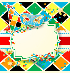 Carnival with hat and mask on harlequin background vector
