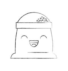 cartoon sack flour bakery kawaii vector image