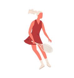Cartoon sportswoman hold racket playing big tennis vector