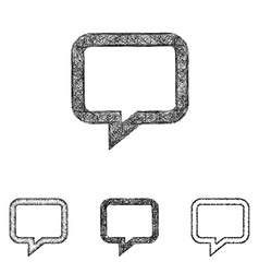 Chat icon set - sketch line art vector image