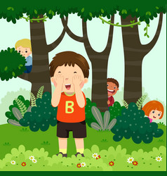 Children playing hide and seek vector
