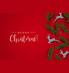 christmas pine tree and red deer ornament card vector image