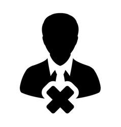 Close person icon male user profile avatar delete vector