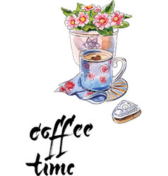 coffee time cup coffee flower vector image