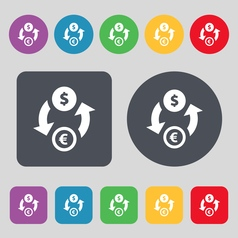 Currency exchange icon sign A set of 12 colored vector image