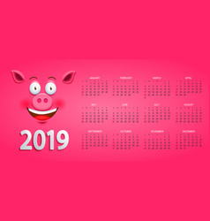 Cute calendar for 2019 year with pigs face vector