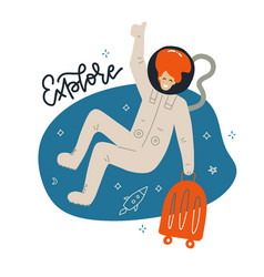 cute female astronaut flying in space with luggage vector image