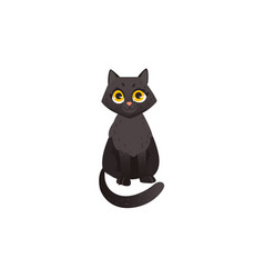 cute fluffy black cat chatacter sitting straight vector image