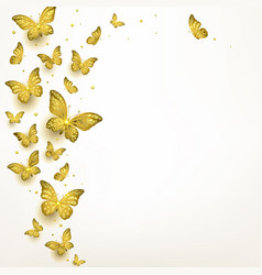 decorative golden butterflies in a flock vector image