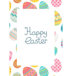 decorative happy easter egg frame template vector image