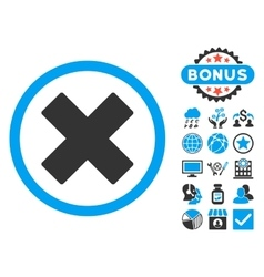 Delete X-Cross Flat Icon with Bonus vector image
