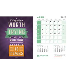 Desk calendar template for 2018 year april design vector