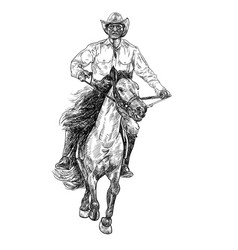 Drawing black and white of cowboy riding horse vector