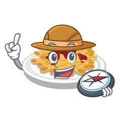 Explorer pasta in a mascot shape vector